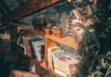 Vægreol med bøger og ting på